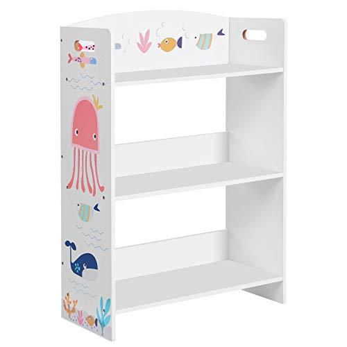 SONGMICS Bücherregal für Kinder, Kinderzimmerregal mit 3 Ablagen, Spielzeug-Organizer, Kinderzimmer, Kindergarten, Schule, für Bücher und Spielzeug, weiß GKRS03WT