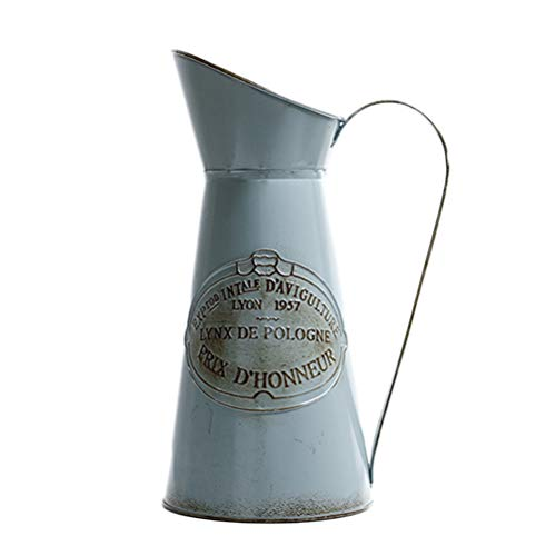 Vosarea Rustikaler Stil Krug aus Metall in Krugform Vase Deko-Vase mit primitiven Blumen