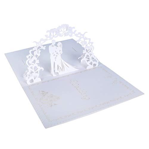 Grußkarten, Einladungsumschläge Hochzeitseinladungen 3D Pop Up Karte Romantik Karte Hochzeitstag Einladen Geschenkkarte mit Umschlag für Glückwünsche (Hochzeitseinladungskarte Weiß)