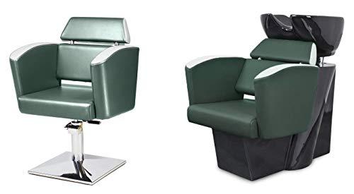 El juego de muebles de peluquería Steo 2 sillones de peluquería hidraulica de altura ajustable + 1 lavacabezas de peluquería, silla para barbería, salones de belleza, colores tapicerías