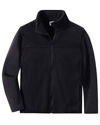 Spring&Gege Jungen Fleecejacke Full Zip Warm Outdoor Fleece Jacke für Kinder, Schwarz, 152-158