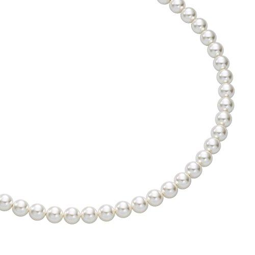 Heideman Halskette Damen Perlenkette aus Edelstahl Silber farbend matt Kette für Frauen mit Swarovski Perle Weiss rund Perlenschmuck Brautschmuck