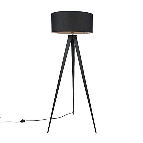 QAZQA Modern Moderne Stehleuchte/Stehlampe/Standleuchte/Lampe/Leuchte schwarz mit schwarzem Lampenschirm - Tripe/Tripod/Dreifuß/Innenbeleuchtung/Wohnzimmerlampe/Schlafzimmer Textil /