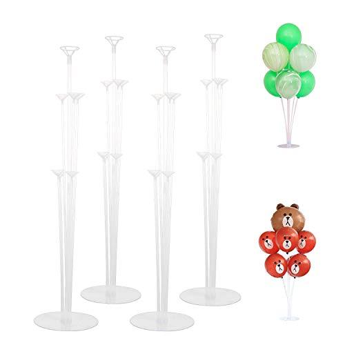 4 Pezzi Palloncino Supporto Kit, Set di Kit di Supporto per Palloncino Trasparente, Bastoncini per Palloncini Kit, Palloncini Sticks Supporti per Decorazione, Compleanni, Anniversari, Matrimonio