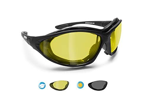 Bertoni Motorcykel skyddsglasögon fotokromatiska polariserade gula linser – utbytbara armar och elastiskt band – P333FTA Italien motorcykel solsensor ridning vadderade glasögon