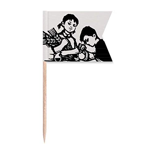 Boy Girl Wheat Microscope Patriotism Toothpick Flags Labeling Marking for Party Cake Food Cheeseplate