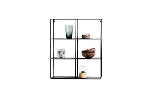 LIFA LIVING Wandregal aus schwarzem Metall, Schwebendes Industrial Wandregal mit 6 Fächern, Küchenregal Bücherregal Gewürzboard, 50 x 60 x 11 cm