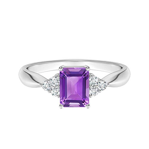 Shine Jewel 0.50 CTW Piedra Preciosa de Amatista de Corte Radiante Plata 925 con Anillo de Acentos de Solitario Trio (12)