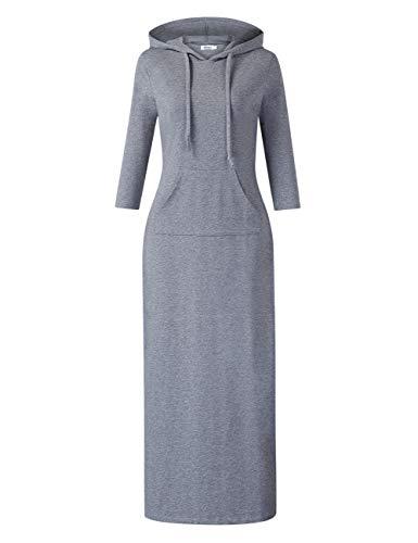 MISSKY Women's Casual Pocket Slim Pullover Maxi Hoodie Dress (3XL,Grey)