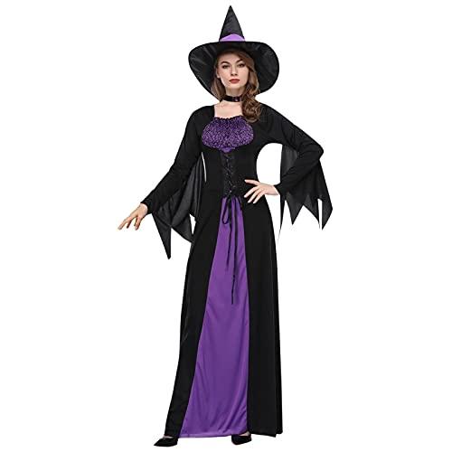 NISOWE Disfraz de Halloween para mujer, disfraz de bruja, morado, M
