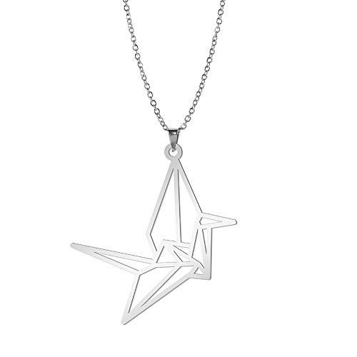 VASSAGO Origami Bird Paper Crane Colgante Collar Joyas de animales para mujeres niñas