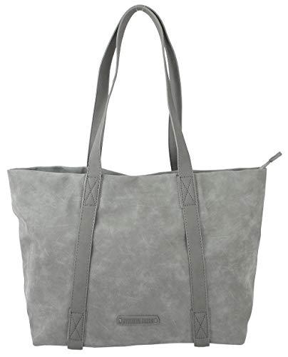 Jennifer Jones Edle Damen Handtasche Shopper Schultertasche mit 2 Henkeln Tragetasche Groß (3448) (Grau)