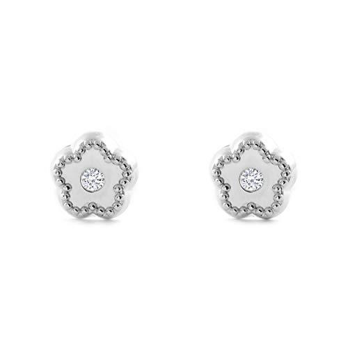 Orecchini Per Bambini Fiore Con Zirconi - Oro Bianco 9K (375)
