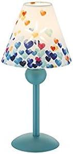 Kinder Nachttischlampe mit Stoffschirm Bunte Herz-Deko Textil-Lampenschirm (Kinderlampe, Nachttischleuchte, Tischleuchte, Tischlampe, Höhe 25,8 cm, Türkis)