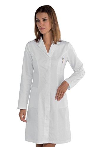 Fratelliditalia Bata de mujer médica blanca herboristeria puro algodón atornillado botones automáticos