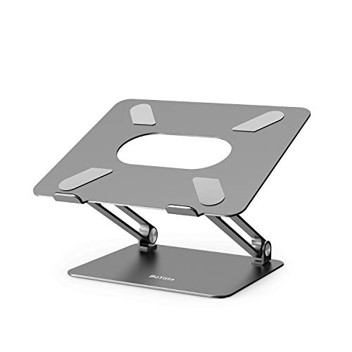 BoYata Laptop ständer: Multi-Angle-Standfuß mit Heat-Vent, Aluminium Einstellbares Notebook ständer kompatibel für Laptop (10-17 Zoll), einschließlich MacBook Pro/Air, Surface, Samsung, HP(Grau)