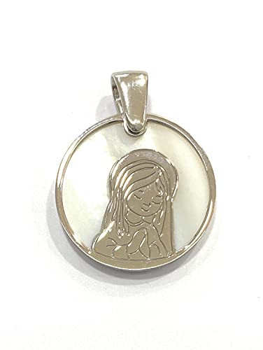 Medalla Virgen Niña comunión en Plata de Ley y nácar