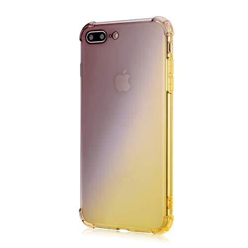 Oihxse Cristal Coque Compatible pour iPhone XR Case Dégradé Transparente Coussin d'Air Silicone Souple Protection Housse Ultra Mince Antichoc Protection Etui Bumper Cover (Or Noir)