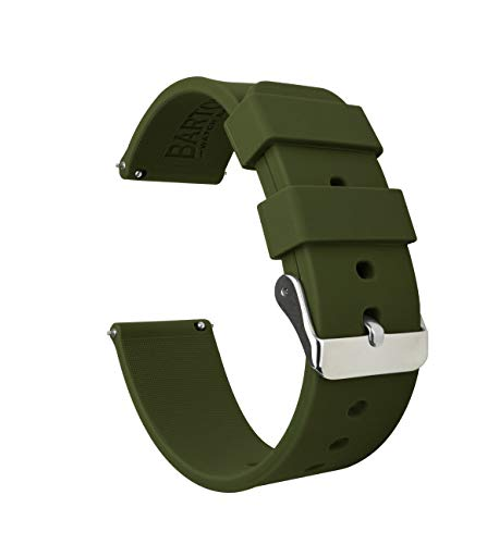 20mm Army Green - BARTON Watch Bands - Soft Silicone Quick Release Straps