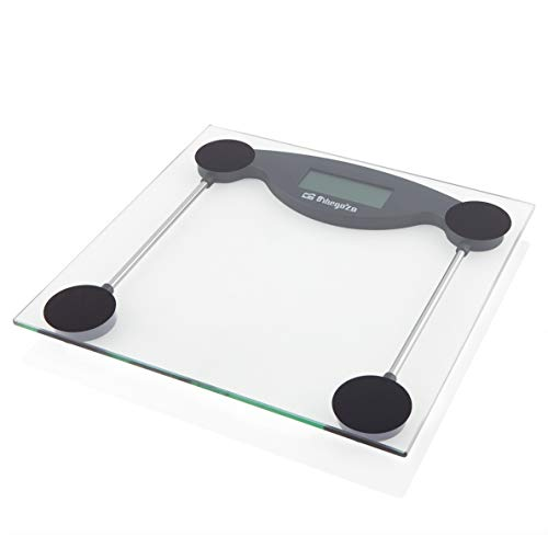 Orbegozo PB 2211 – Báscula de baño, activación táctil, indicador de sobrecarga y batería baja, pantalla LCD, máx. 150 kg