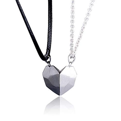 Collares para Parejas, Piedra de los Deseos Collar magnético Cadena de corazón magnética Ajustable Collar para Parejas Cadenas para Parejas Cadenas de Amistad Colgantes para Parejas Regalo