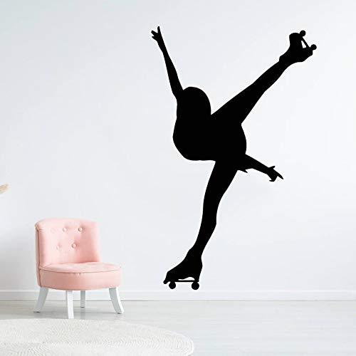 Decoración de la habitación de las niñas patinaje silueta de niña vinilo pegatinas de pared patrón monopatín pegatinas de pared extraíble pintura de pared decoración mural A6 42x66cm