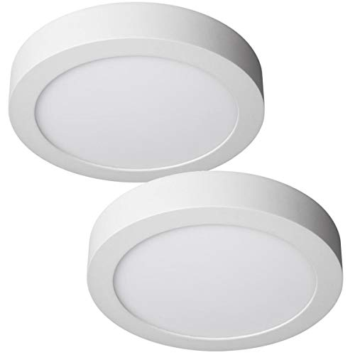 JANDEI - 2x Downlight LED 18W Redondo De Superficie Luz Blanca Neutra 4000K, Aluminio Aro Blanco Mate