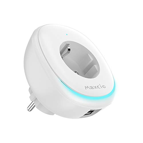 Presa Intelligente con Smart Led Lamp e 2 Porte USB, Maxcio Presa WiFi Compatibile con Alexa e Google Home, Controllo APP e Funzione Timer, Condivisione in Famiglia,Nessun Hub Richiesto -1 Pack