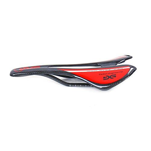 ESEN SP Bicicleta Superlight Full Carbon Fiber MTB/Bicicleta de Carretera Sillín Hueco 3k Mate/Brillante (Brillante, Rojo)
