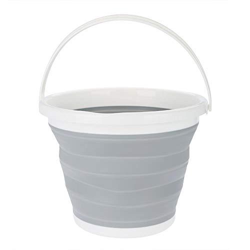 lyrlody Opvouwbare emmer, 10 l, opvouwbare siliconen plastic emmer, draagbare wasmand, huishouden, waterreservoir, voor thuis, badkamer, tuin, camping, vissen