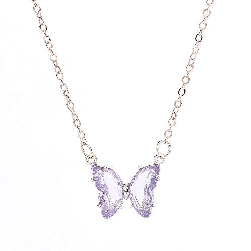 XCWXM Collar con Colgante de Mariposa de Cristal de fantasía para niña súper Hada, Cadena de clavícula Femenina, Collar popular-AL932