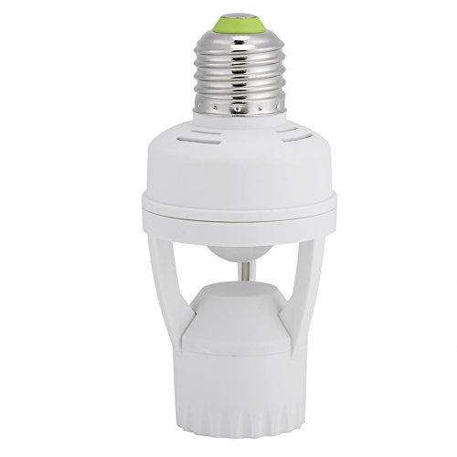 Zerodis E27 LED Lamp Bulb Holder, Light Switch Socket Adjustable Infrared Motion Sensor Light Base AC 110-240V
