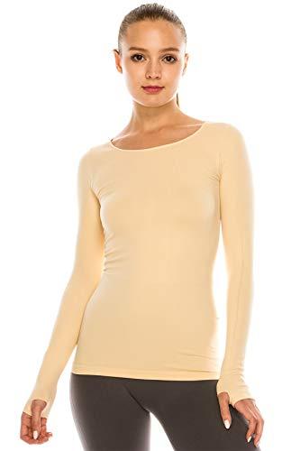 Kurve Damen-T-Shirt, langärmelig, Rundhalsausschnitt, UV-Schutz, LSF 50+ (Hergestellt mit Liebe in den USA) - Beige - M/L
