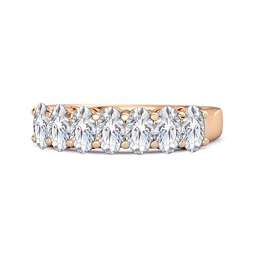 Shine Jewel Multi Elija su Piedra Preciosa Siete Piedras 1.75 CTS Media eternidad Anillo de Plata de Ley 925 Chapado en Oro Rosa (12, cz Blanca)