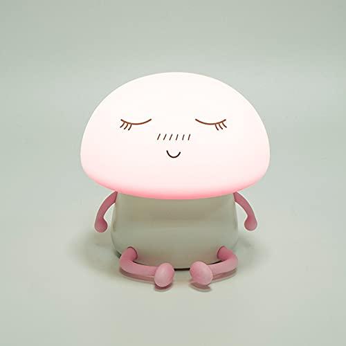 YYHMKB Silicona Led Dormitorio Atmósfera Luz de noche Lámpara de mesa de carga Usb de dibujos animados Lámpara de seta Rosa rosa