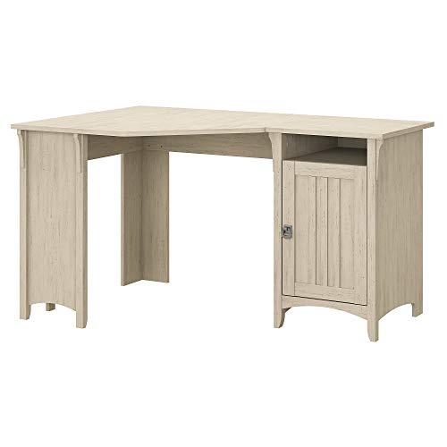 Bush Furniture Salinas 55W Corner Desk with Storage in Antique White