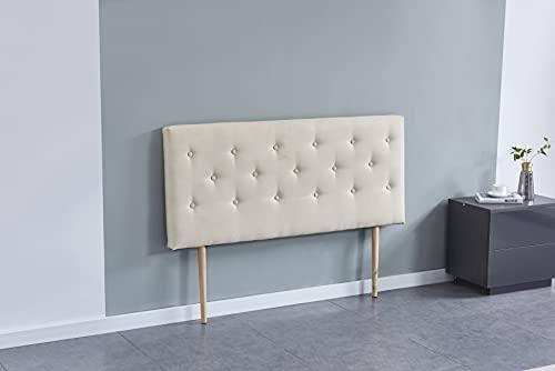 Tête de lit Deco, capitonnée Tissu Beige, L'épaisseur Totale de 8 cm (140 x 100 cm)