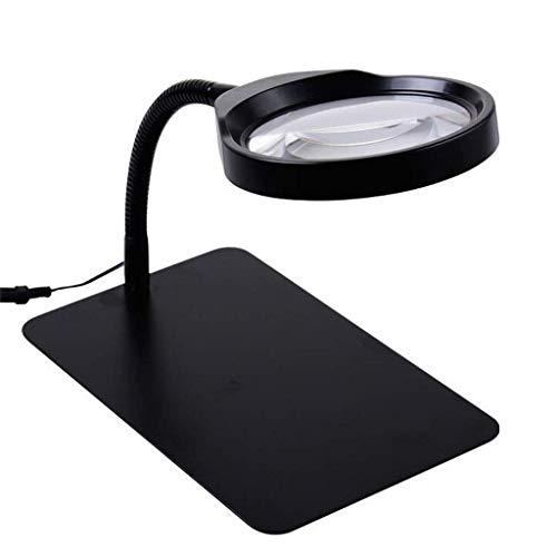 Lámpara de Escritorio iluminada 10x con luz LED Lámpara de Mesa de Vidrio Reparación de iluminación Grabado Lupa de Lectura para niños Mayores Adecuado para Lectura, Lupa de joyería, WA