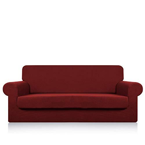 GAOZHEN Fundas de Forro Polar extragrandes para sofá de 1, 2, 3 y 4 plazas, Funda de sofá Antideslizante súper elástica para Perros, Que admite Mascotas, para sofá, Funda Protectora para Muebles, ro