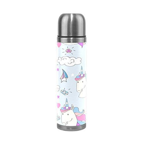 Ffy Go Travel Mug, Licorne Impression personnalisé Thermos en acier inoxydable LeakProof Thermos isotherme extérieur Cuir pour filles garçons 500 ml