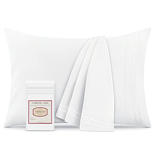 Mellanni White Pillow Cases Standard Size Set of 2 - Pillow Covers - Pillow Protector - Hotel Luxury 1800 Bedding Sheets & Cooling Pillowcases (Set of 2 Standard/Queen Size 20' x 30', White)