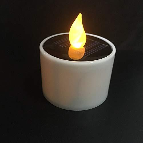 Al aire libre Conjunto de 6 Energía Solar decoración amarilla de la fiesta de Navidad LED electrónico parpadeo Portacandelitas Lámpara de la vela luz nocturna Vector de la boda Inicio / blanco Tempori