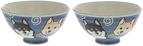 Japanese Shiba Dog Blue Rice Bowl Animer and price revision Inches Authe Diameter Max 45% OFF 4.92 Set