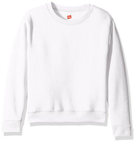 Hanes Girls' Big Girls' Comfortsoft Ecosmart Fleece Sweatshirt, White, XL