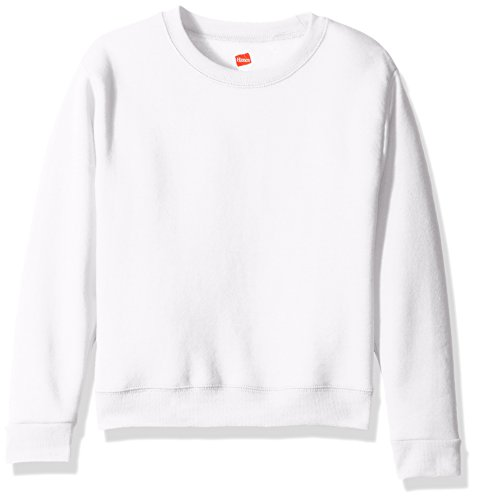 Hanes Big Girls' Comfortsoft Ecosmart Fleece Sweatshirt, White, L