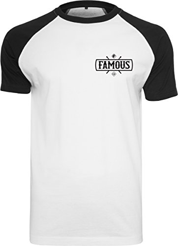 Famous Stars and Straps Herren Chaos Patch Raglan Tee T-Shirt, wht/Blk, M