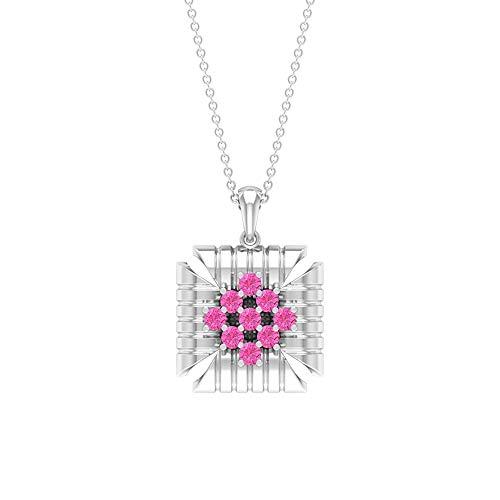 Rosec Jewels 10 quilates oro blanco redonda Pink Laboratorio de zafiro