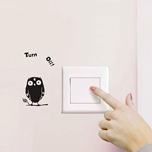 Pegatinas de interruptor extraíbles de dibujos animados de búho negro lindo en la etiqueta de la pared calcomanías de vinilo para decoración del hogar pasta de enchufe