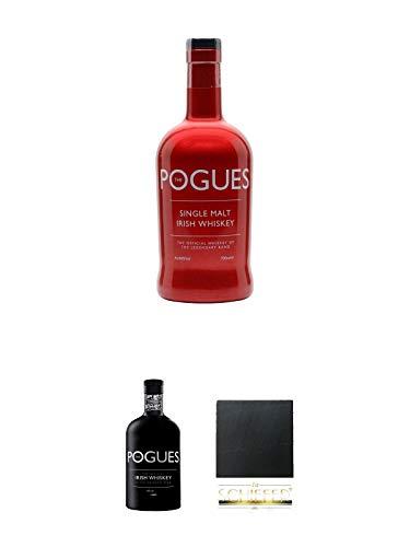 The Pogues Irish Whiskey (rote Flasche) 0,7 Liter + The Pogues Irish Whiskey (schwarze Flasche) 0,7 Liter + Schiefer Glasuntersetzer eckig ca. 9,5 cm Durchmesser