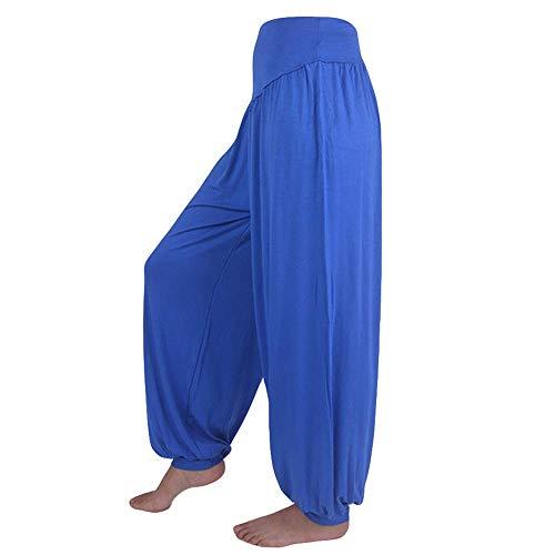 WOZOW Yoga Hosen Damen Bloomers Solid Einfarbig Aladdin Indian Thiland Lang Long Haremshose Pumphose Soft Loose Lose High Waist Casual Bequem Baggy Trousers Stoffhose Freizeithose (XL,Blau)